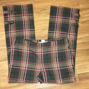 Tommy Hilfiger Adjustable Wide Leg Plaid Trouser.